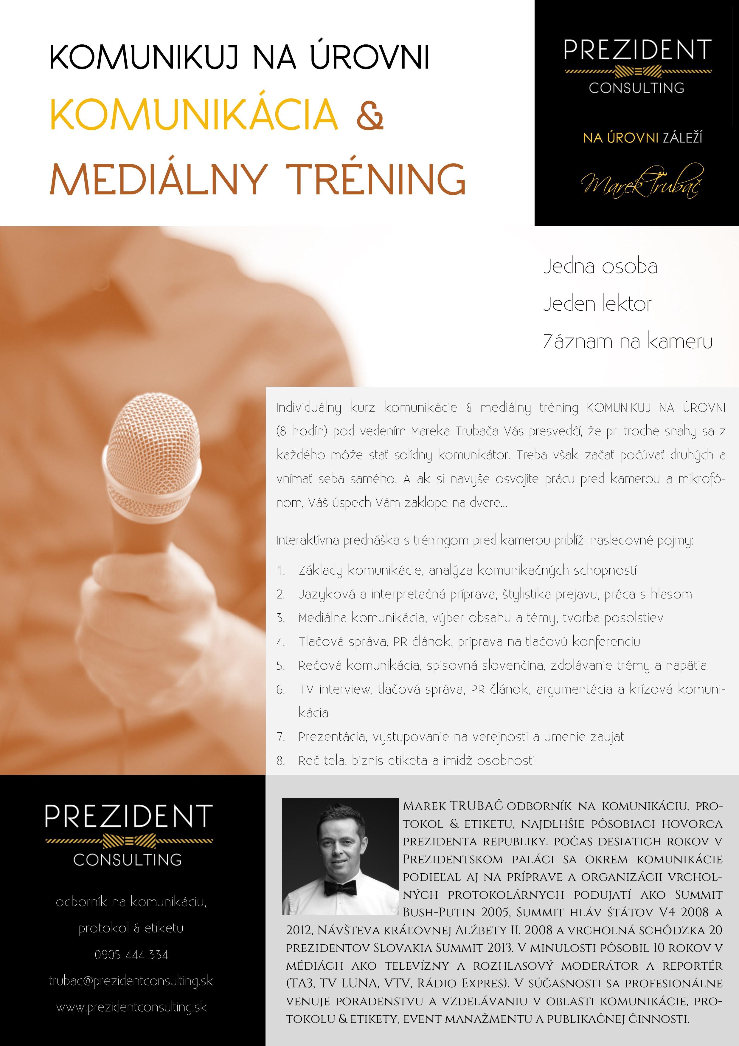 Komunikuj na úrovni - komunikácia & mediálny tréning 2018 - individuálny