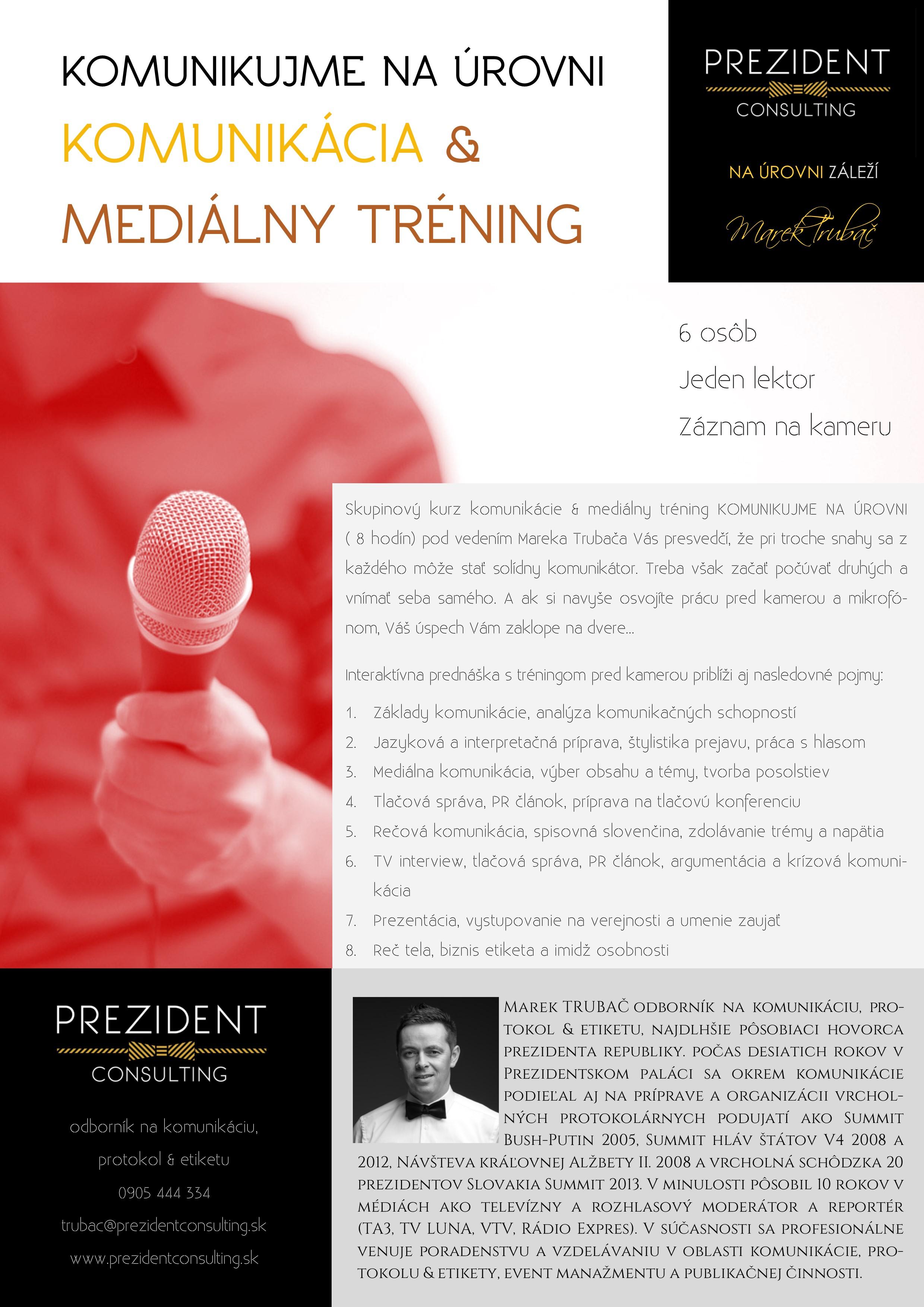 Komunikujme na úrovni - komunikácia & mediálny tréning s Marekom Trubačom 2018 - skupinový