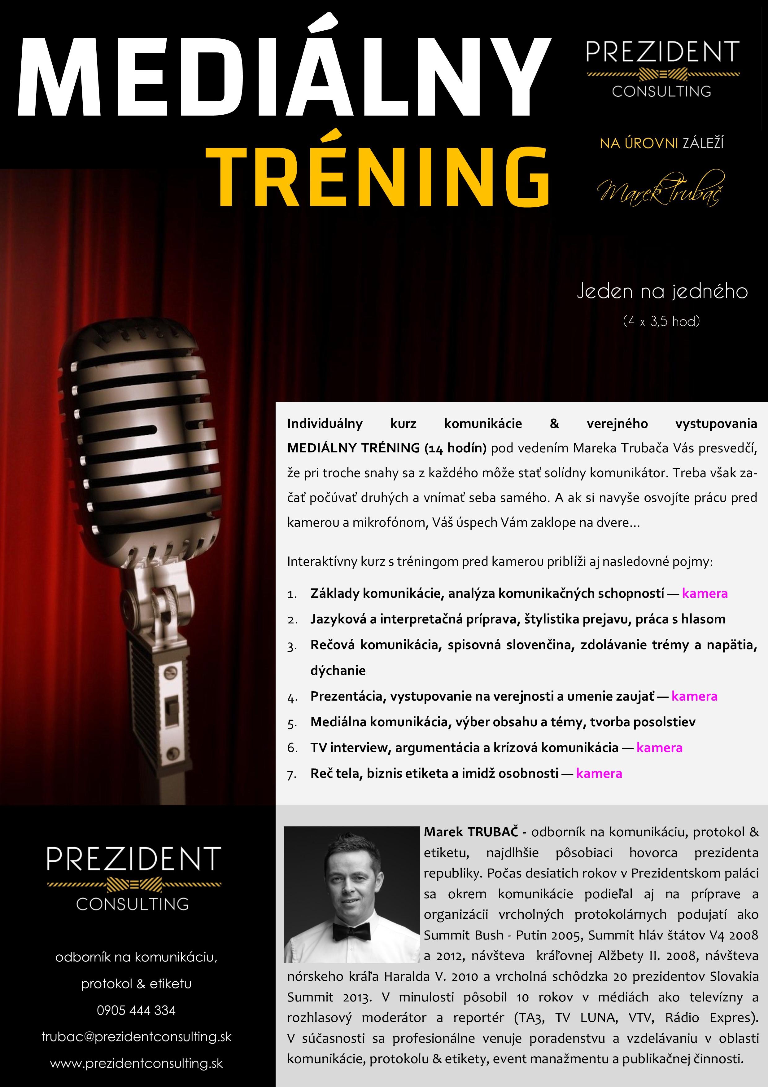 MEDIÁLNY TRÉNING -komunikácia & verejné vystupovanie 2018 - individuálny 14 hod - I